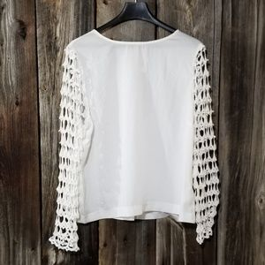 Adiva white blouse with lace bell sleeves